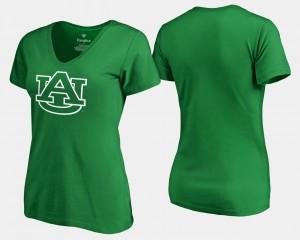 Auburn Womens T-Shirt Kelly Green Official St. Patrick's Day White Logo 844334-361