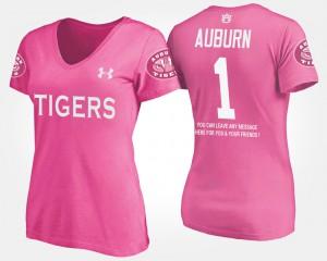 Auburn #1 Women's T-Shirt Pink College No.1 Short Sleeve With Message 209895-811