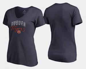Tigers Women T-Shirt Navy Stitched Graceful V-Neck 416494-434