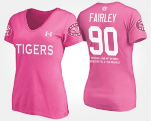 Auburn #90 For Women's Nick Fairley T-Shirt Pink College With Message 275119-250