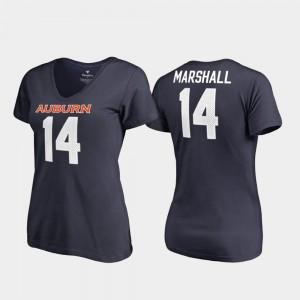 Auburn Tigers #14 Women's Nick Marshall T-Shirt Navy V-Neck College Legends Alumni 437595-870