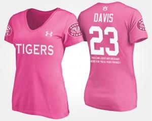 Auburn #23 For Women Ryan Davis T-Shirt Pink NCAA With Message 847280-911